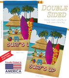 Surf's Up Hut - Fun In The Sun Summer Vertical Impressions Decorative Flags HG106070 Made In USA