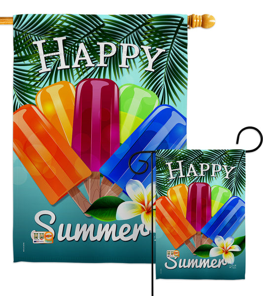 Happy Summer Pop - Fun In The Sun Summer Vertical Impressions Decorative Flags HG137027 Made In USA