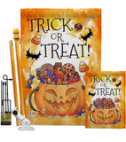 Trick or Treat Candys - Halloween Fall Vertical Impressions Decorative Flags HG112078 Made In USA