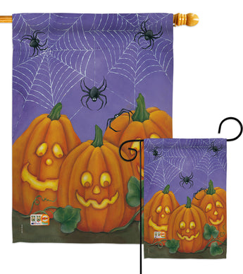 3 Pumpkins - Halloween Fall Vertical Impressions Decorative Flags HG112054 Made In USA