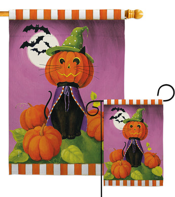 Happy Haunting Cat - Halloween Fall Vertical Impressions Decorative Flags HG112094 Made In USA