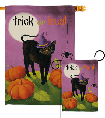 Halloween Cat - Halloween Fall Vertical Impressions Decorative Flags HG112095 Made In USA