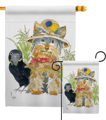 Yorkshire Scarecrow - Halloween Fall Vertical Impressions Decorative Flags HG112096 Made In USA