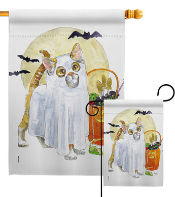 Ghost Cat - Halloween Fall Vertical Impressions Decorative Flags HG112097 Made In USA