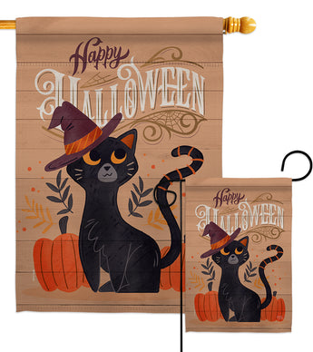 Witchy Cat - Halloween Fall Vertical Impressions Decorative Flags HG112101 Made In USA