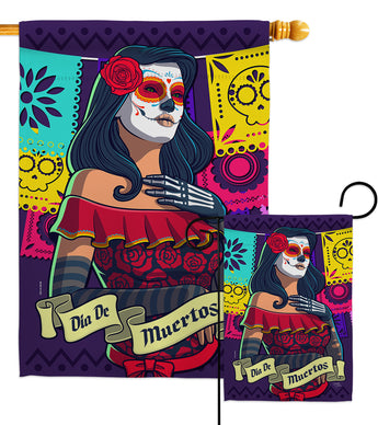 La Calavera Catrina - Halloween Fall Vertical Impressions Decorative Flags HG112102 Made In USA