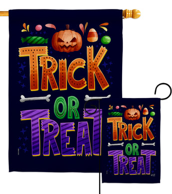 Trick or Treat - Halloween Fall Vertical Impressions Decorative Flags HG137295 Made In USA