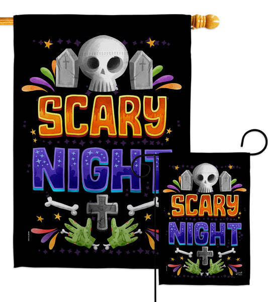 Scary Night - Halloween Fall Vertical Impressions Decorative Flags HG137296 Made In USA