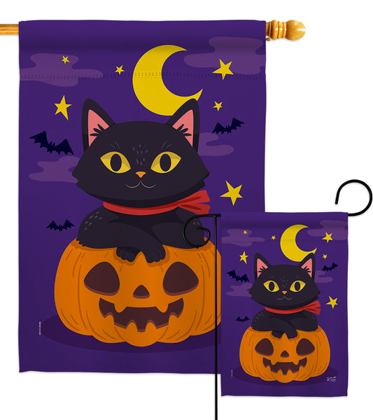 Halloween Kitty - Halloween Fall Vertical Impressions Decorative Flags HG137297 Made In USA