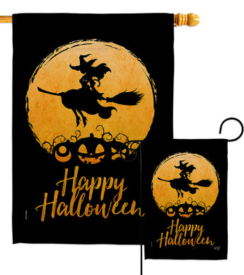 Halloween Witch - Halloween Fall Vertical Impressions Decorative Flags HG137306 Made In USA