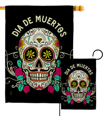 Dia De Muertos - Halloween Fall Vertical Impressions Decorative Flags HG137382 Made In USA