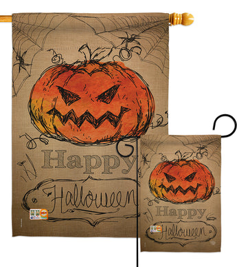 Happy Halloween - Halloween Fall Vertical Impressions Decorative Flags HG191023 Made In USA