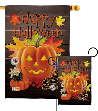 Evil Halloween Pumpkin - Halloween Fall Vertical Impressions Decorative Flags HG192141 Made In USA