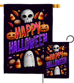 Halloween Treat - Halloween Fall Vertical Impressions Decorative Flags HG192285 Made In USA