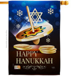Happy Hanukkah Dreidel - Hanukkah Winter Vertical Impressions Decorative Flags HG114174 Made In USA
