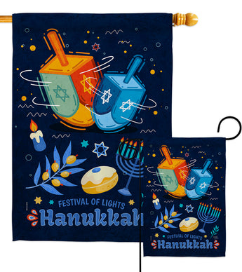 Festival Of Lights - Hanukkah Winter Vertical Impressions Decorative Flags HG114228 Made In USA