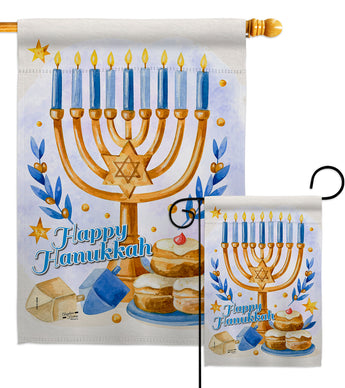 Jewish Festival - Hanukkah Winter Vertical Impressions Decorative Flags HG137325 Made In USA