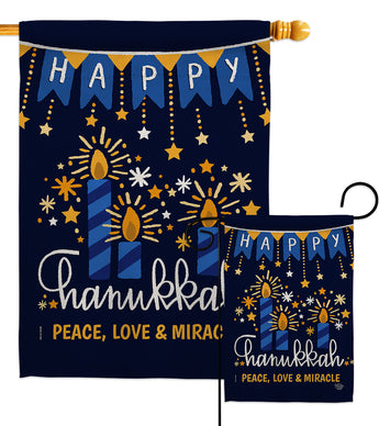 Peace Love Happiness - Hanukkah Winter Vertical Impressions Decorative Flags HG192315 Made In USA
