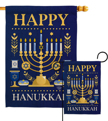 Happy Hanukkah - Hanukkah Winter Vertical Impressions Decorative Flags HG192317 Made In USA