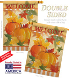 Welcome Fall Pumpkins - Harvest & Autumn Fall Vertical Impressions Decorative Flags HG113038 Made In USA