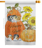 Happy Pumpkin Kitty - Harvest & Autumn Fall Vertical Impressions Decorative Flags HG113076 Made In USA