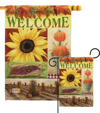 Sunflower Collage - Harvest & Autumn Fall Vertical Impressions Decorative Flags HG113045 Made In USA