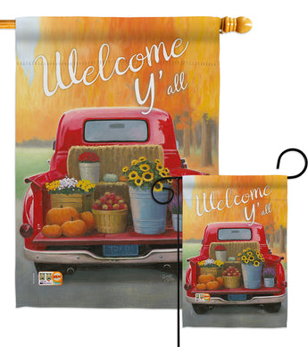 Welcome Harvest Truck - Harvest & Autumn Fall Vertical Impressions Decorative Flags HG113077 Made In USA