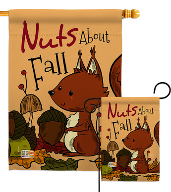 Nuts About Fall - Harvest & Autumn Fall Vertical Impressions Decorative Flags HG137106 Made In USA