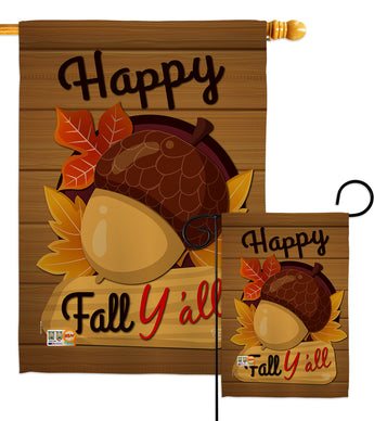 Happy Fall Y'all - Harvest & Autumn Fall Vertical Impressions Decorative Flags HG192131 Made In USA
