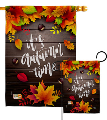 It's Autumn Time - Harvest & Autumn Fall Vertical Impressions Decorative Flags HG192145 Made In USA