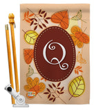 Autumn Q Initial - Harvest & Autumn Fall Vertical Impressions Decorative Flags HG130043 Made In USA