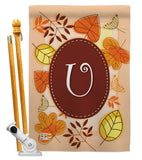 Autumn U Initial - Harvest & Autumn Fall Vertical Impressions Decorative Flags HG130047 Made In USA
