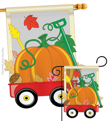 Fall Pumpkins Hand Wagon Garden - Harvest & Autumn Fall Vertical Applique Decorative Flags HG113021 Imported
