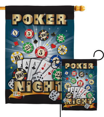 Poker Night - Hobbies Interests Vertical Impressions Decorative Flags HG109039 Made In USA