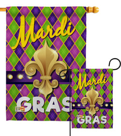Mardi Gras Fleur De Lys - Mardi Gras Spring Vertical Impressions Decorative Flags HG118010 Made In USA