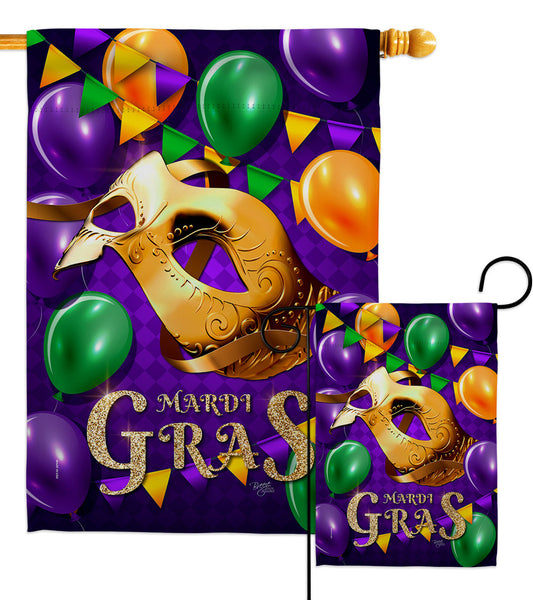 Mardi Gras Balloons - Mardi Gras Spring Vertical Impressions Decorative Flags HG118017 Made In USA