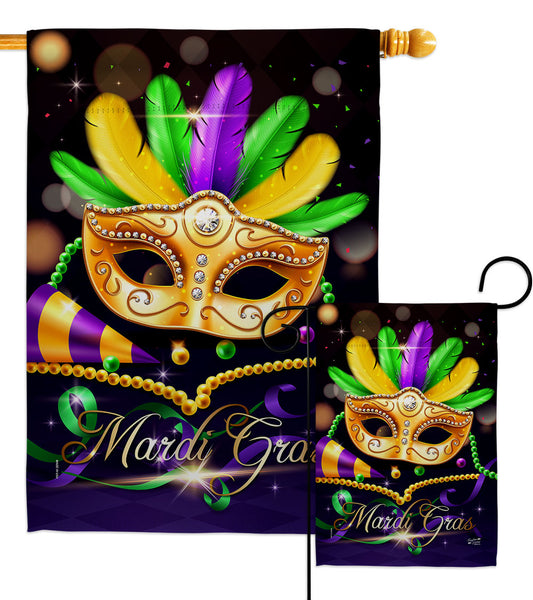 Mardi Gras Party - Mardi Gras Spring Vertical Impressions Decorative Flags HG137411 Made In USA