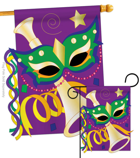 Mardi Gras - Mardi Gras Spring Vertical Applique Decorative Flags HG118001