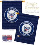 Proud Wife Sailor - Military Americana Vertical Impressions Decorative Flags HG108610 Made In USA