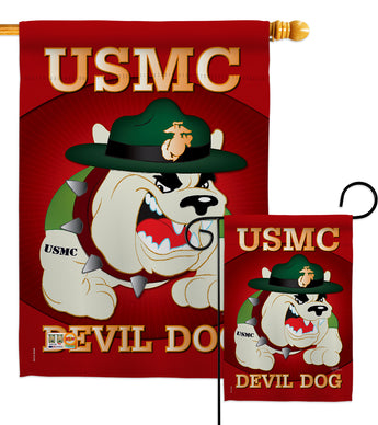 Devil Dog - Military Americana Vertical Impressions Decorative Flags HG108052