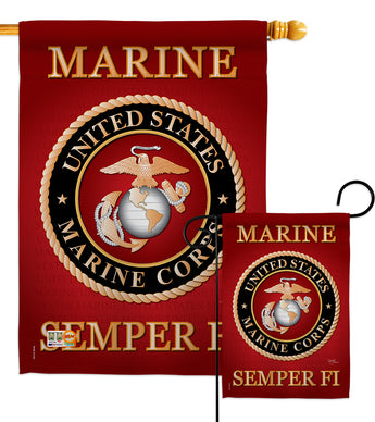 Marine Corps - Military Americana Vertical Impressions Decorative Flags HG108057 Made In USA