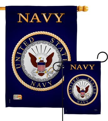 Navy - Military Americana Vertical Impressions Decorative Flags HG108058 Made In USA