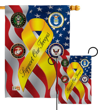Support Our Troops Freedom - Military Americana Vertical Impressions Decorative Flags HG108060 Made In USA