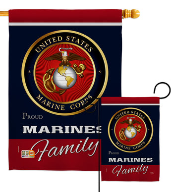 Marines Proudly Family - Military Americana Vertical Impressions Decorative Flags HG108411 Made In USA