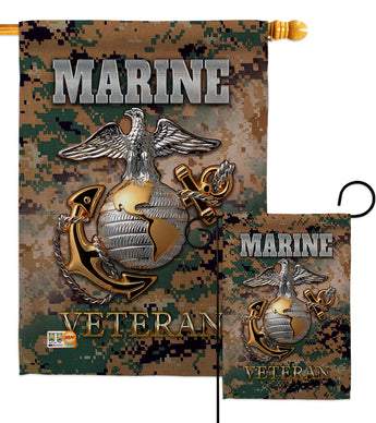 US Marine Veteran - Military Americana Vertical Impressions Decorative Flags HG108424