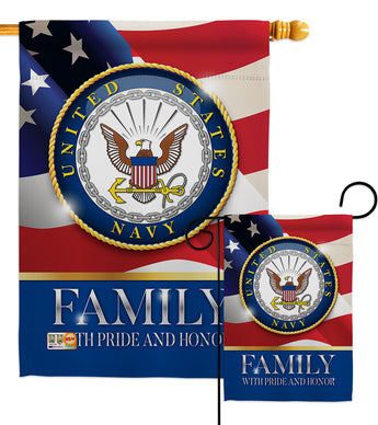 US Navy Family Honor - Military Americana Vertical Impressions Decorative Flags HG108426