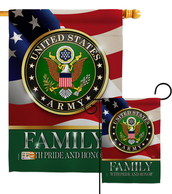 US Army Family Honor - Military Americana Vertical Impressions Decorative Flags HG108427