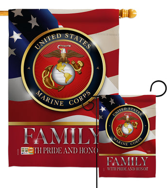 US Marine Family Honor - Military Americana Vertical Impressions Decorative Flags HG108428