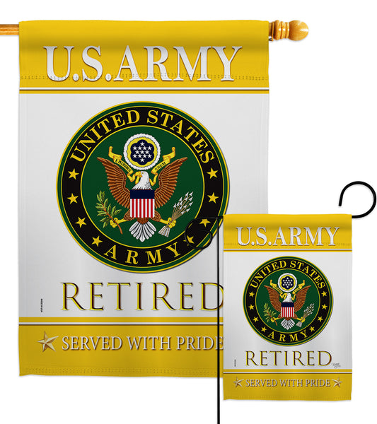 US Army Retired - Military Americana Vertical Impressions Decorative Flags HG108477 Made In USA