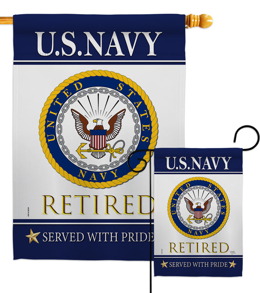 US Navy Retired - Military Americana Vertical Impressions Decorative Flags HG108478 Made In USA